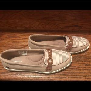 NEVER WORN!  Tan boat slide on boat shoes